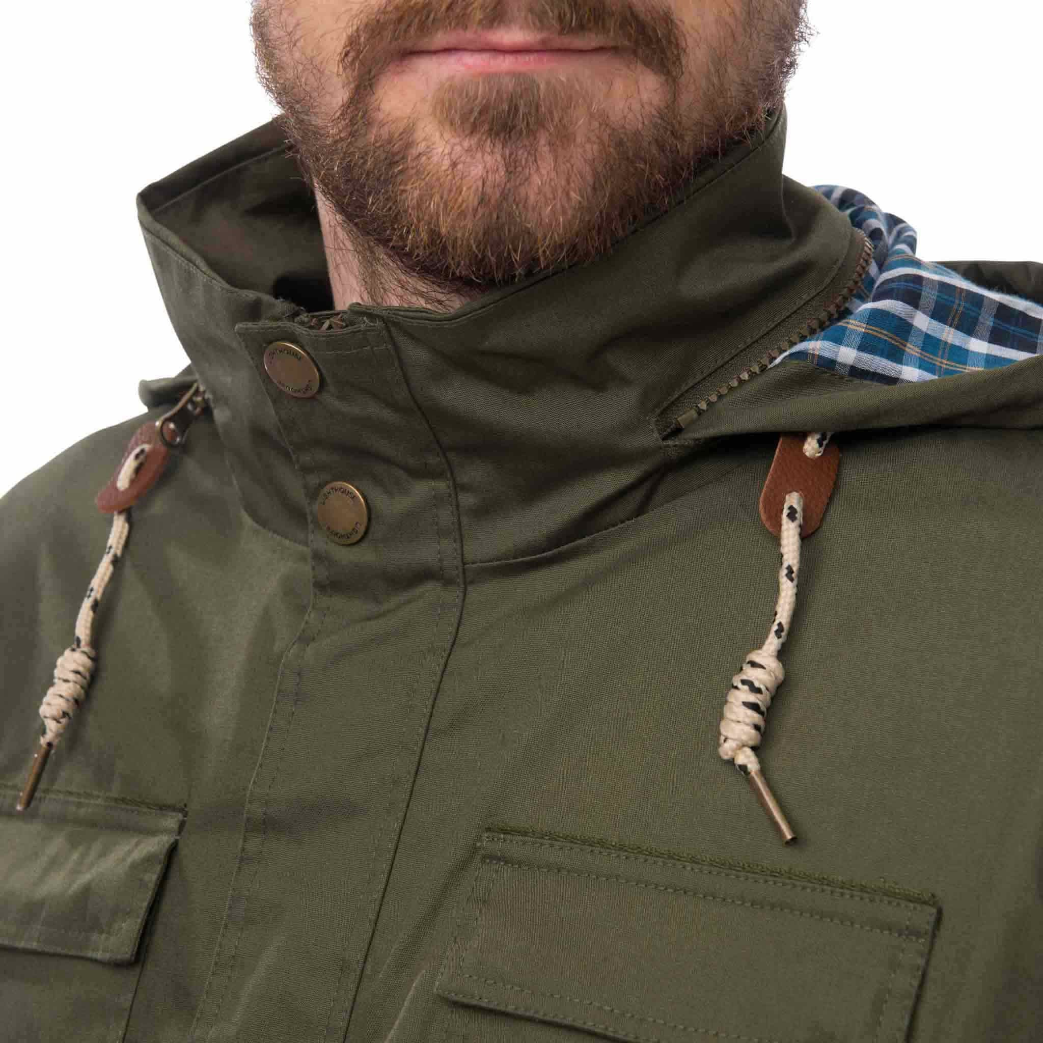 Rigger Mens Waterproof Jacket with Cotton Outer, in Olive, Modelled Detailed Front View | Lighthouse