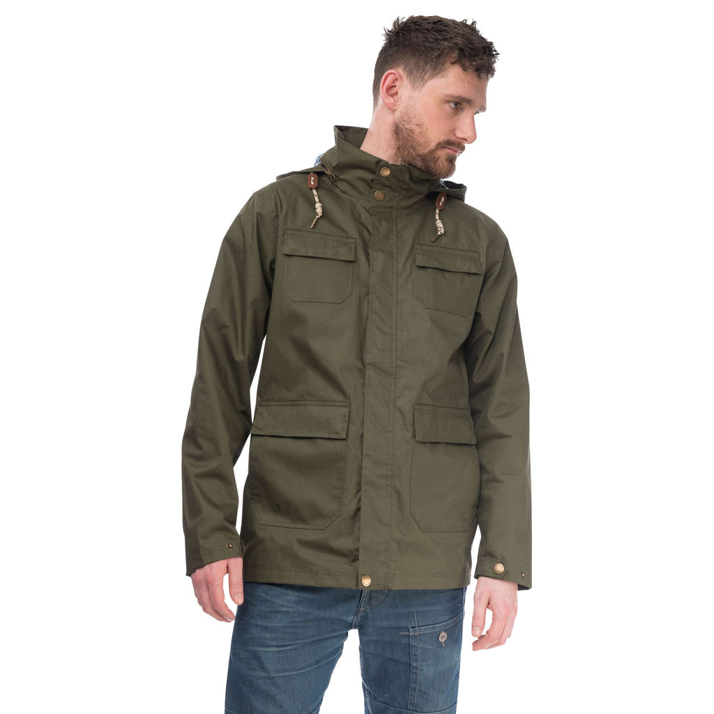 Rigger Mens Waterproof Jacket with Cotton Outer, in Olive, Modelled Front View | Lighthouse