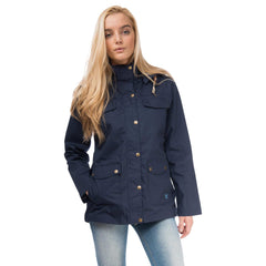 Romy Womens Waterproof Jacket with Cotton Outer in Night Sky, Modelled Front View | Lighthouse