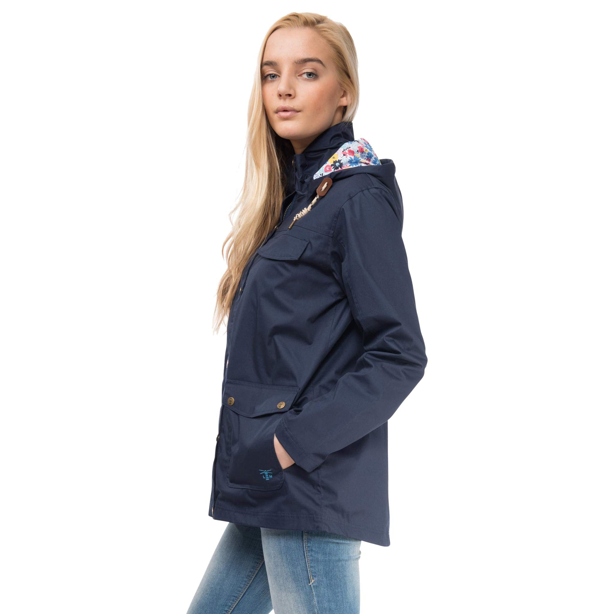 Romy Womens Waterproof Jacket with Cotton Outer in Night Sky, Modelled Side View | Lighthouse