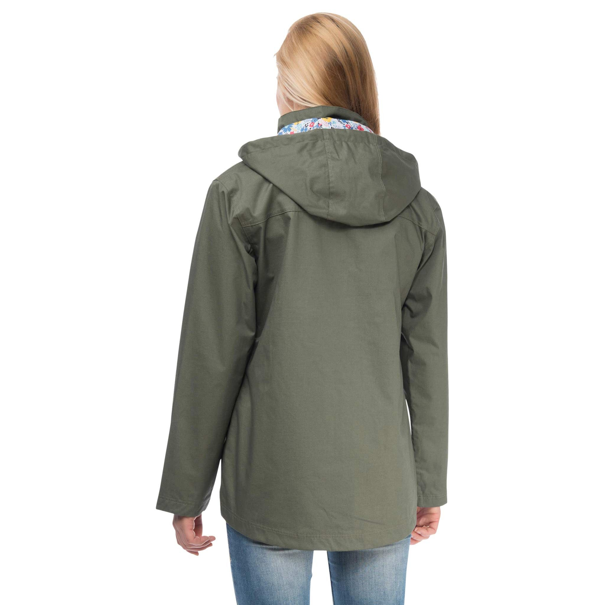 Romy Womens Waterproof Jacket with Cotton Outer in Willow Green, Modelled Back View | Lighthouse