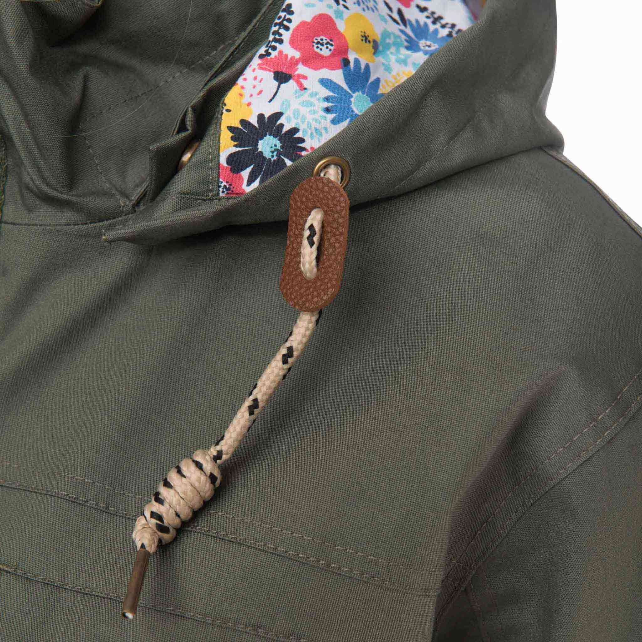 Romy Womens Waterproof Jacket with Cotton Outer in Willow Green, Modelled Detail View | Lighthouse