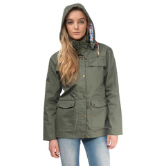 Romy Womens Waterproof Jacket with Cotton Outer in Willow Green, Modelled Front View | Lighthouse