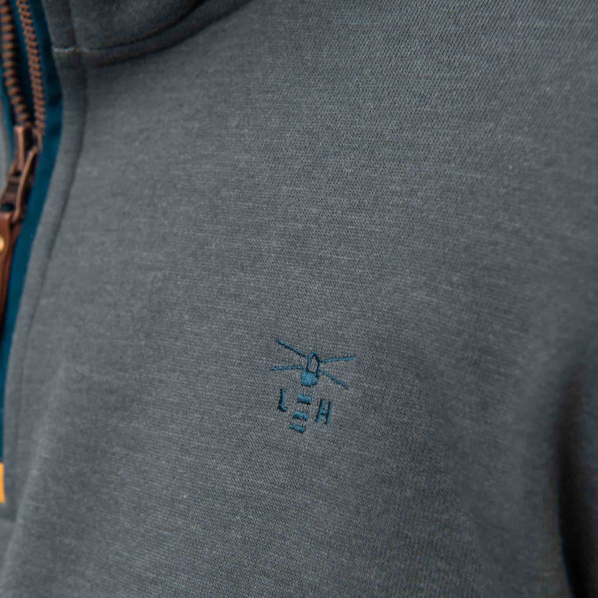 Seafarer Mens Half Zip Sweater in Grey Marl, Modelled Details View | Lighthouse