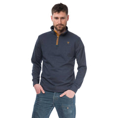 Seafarer Mens Half Zip Sweater in Ink Marl, Modelled Front View | Lighthouse