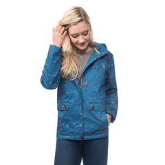 Lighthouse Siena Womens Waterproof Hooded Jacket in blue. Half Zipped & Buttoned. Hood Down. Hands in pockets.