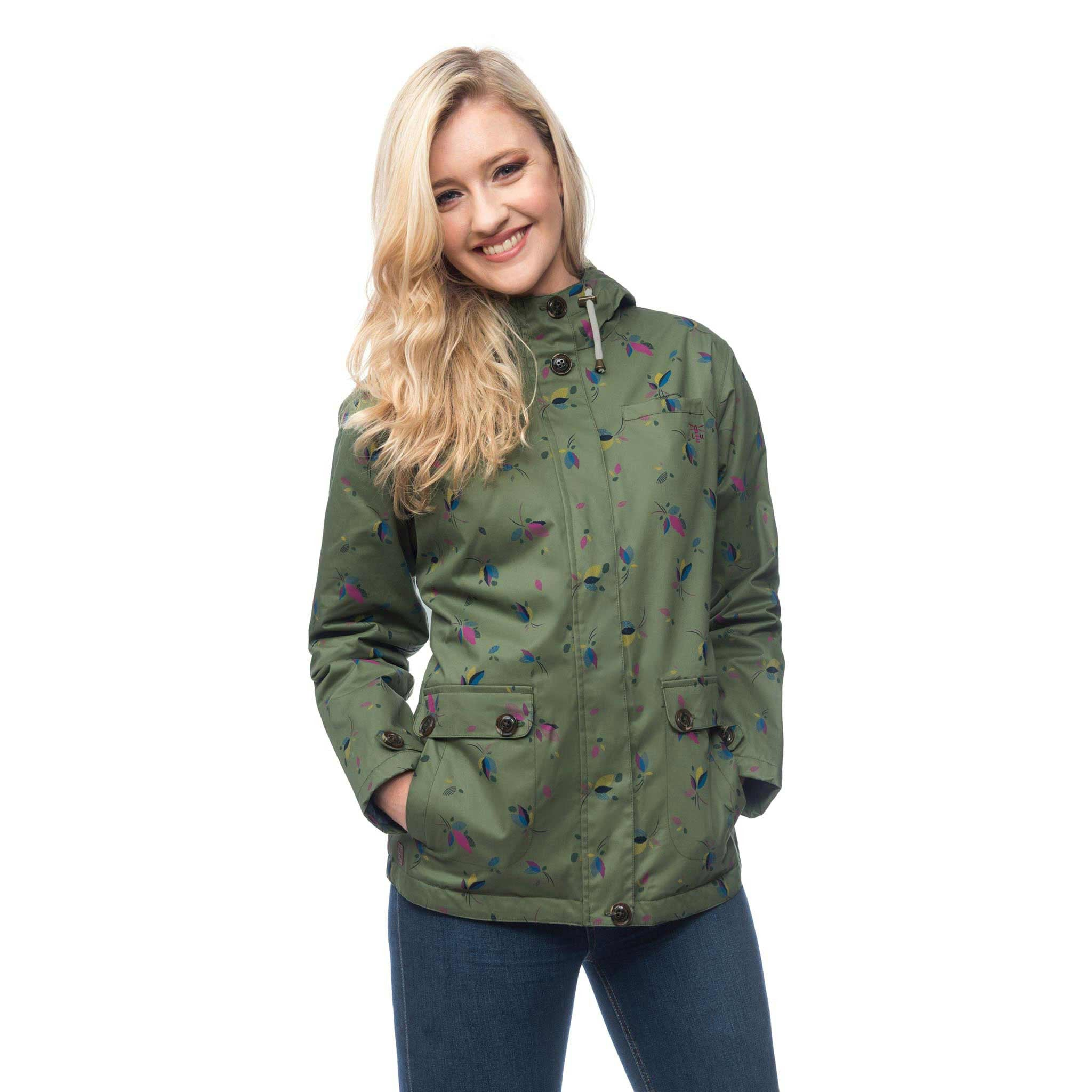 Lighthouse Siena Womens Waterproof Hooded Jacket in Green. Zipped & Buttoned. Hood down. Hands in pockets.