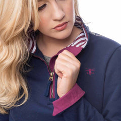 Lighthouse Womens Skye Half Zip Cotton Sweatshirt in Navy. Cuff turn back. Detail shot.