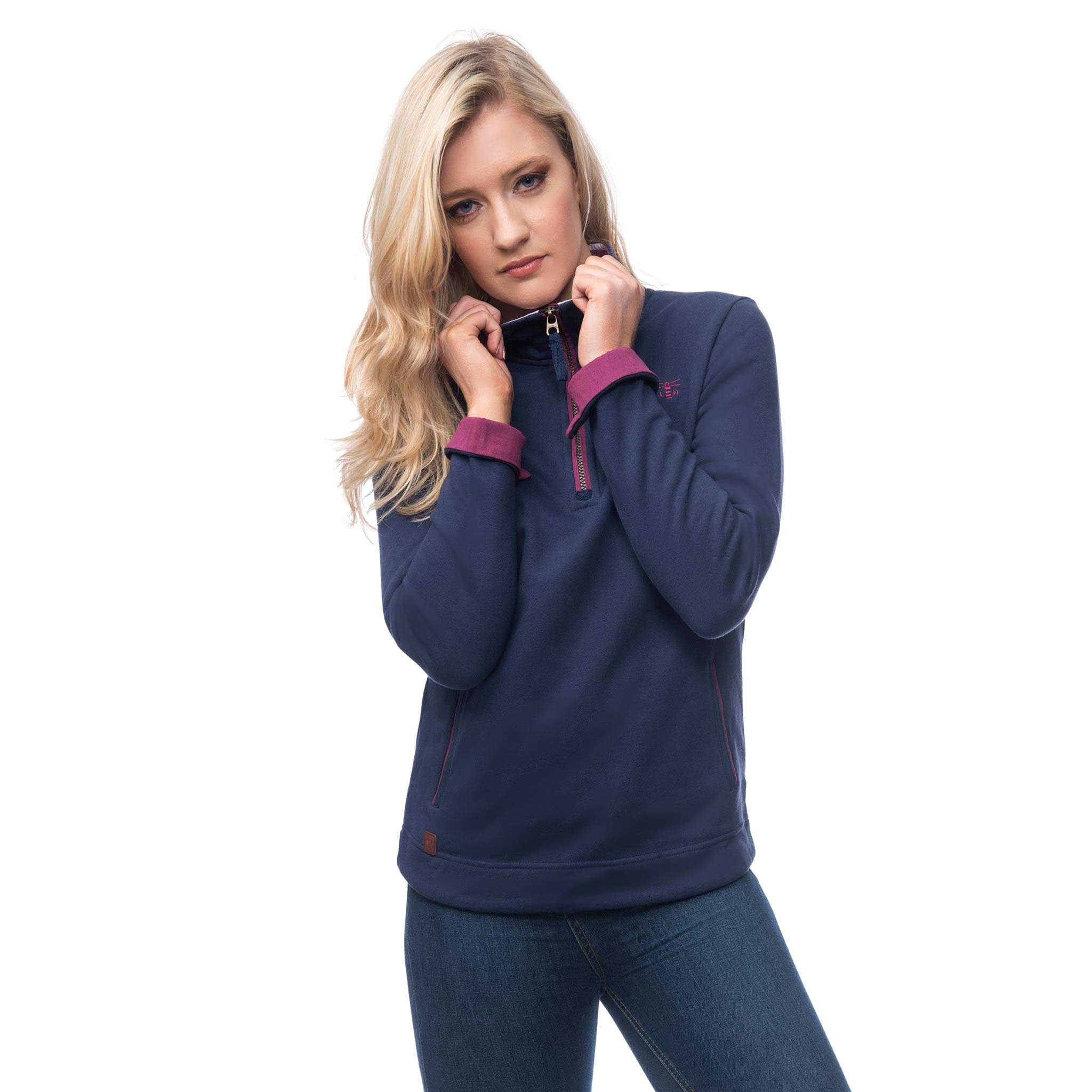 Lighthouse Womens Skye Half Zip Cotton Sweatshirt in Navy. Cuff turn back.