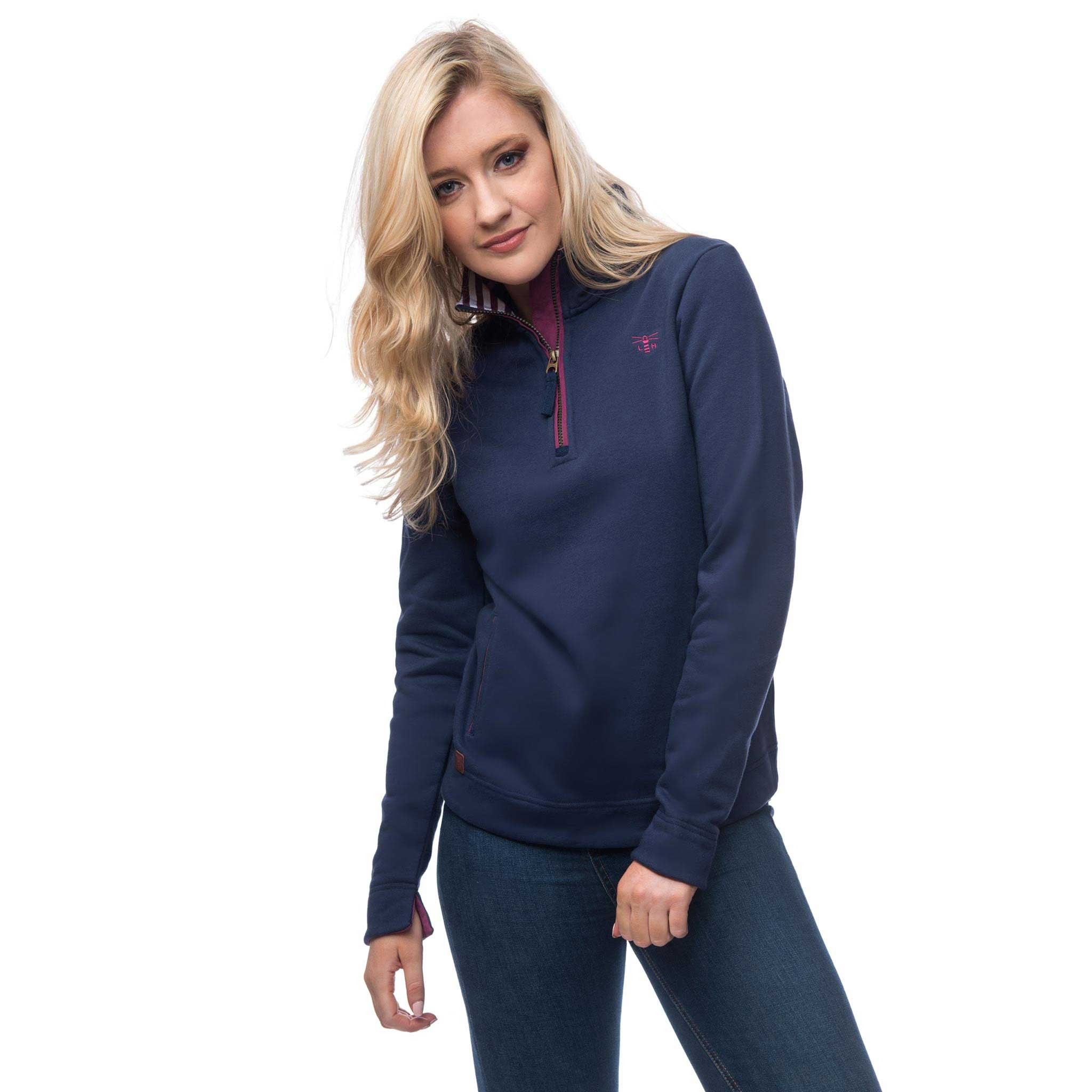 Lighthouse Womens Skye Half Zip Cotton Sweatshirt in Navy.