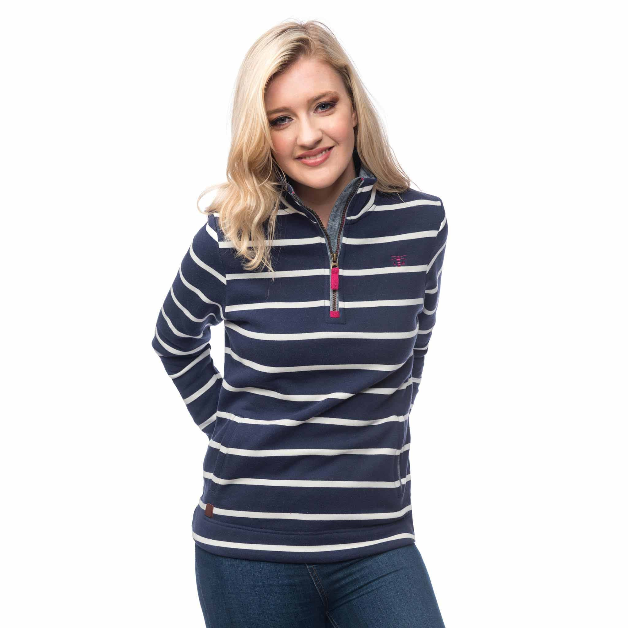 Lighthouse Womens Skye Half Zip Cotton Sweatshirt in Navy stripe.