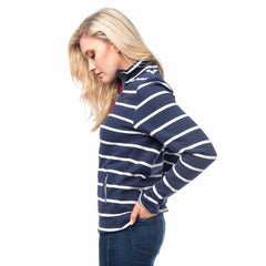 Lighthouse Womens Skye Half Zip Cotton Sweatshirt in Navy stripe. Side opening pockets.