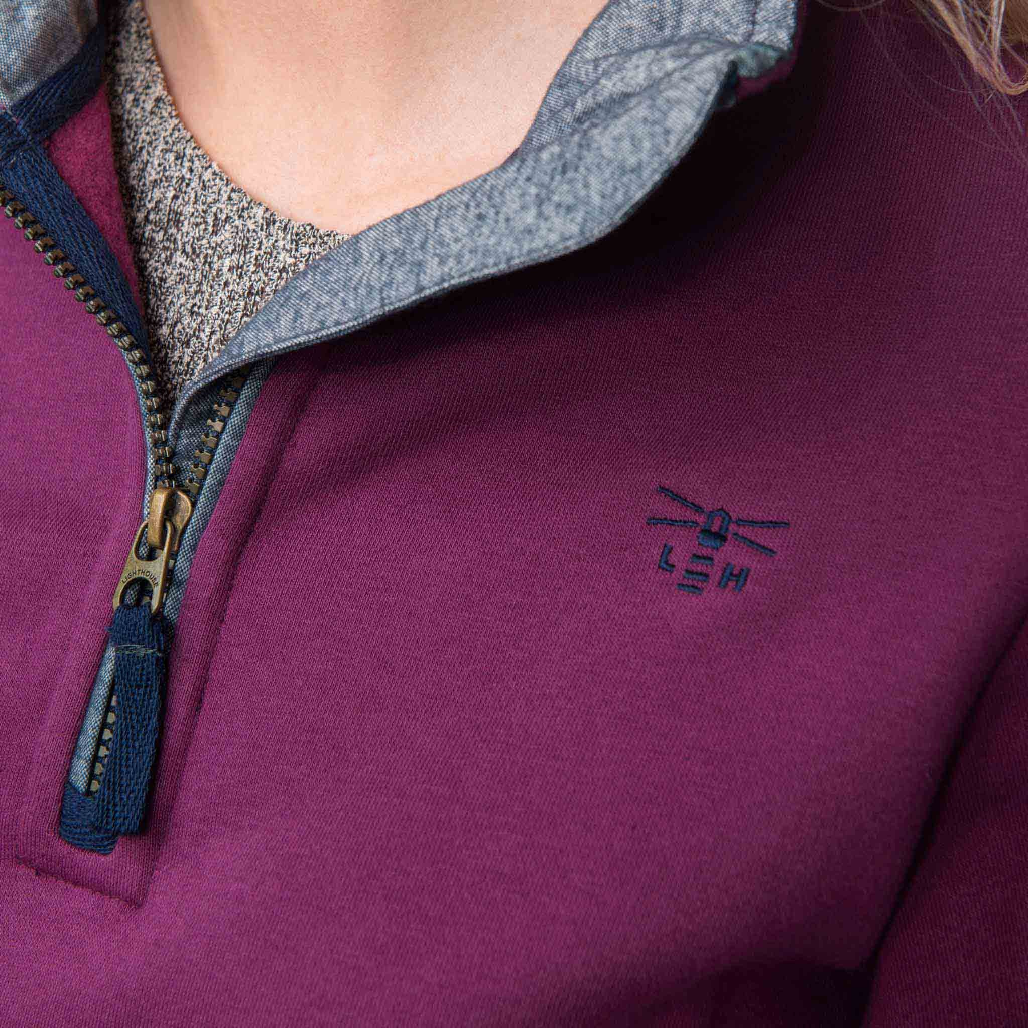 Lighthouse Womens Skye Half Zip Cotton Sweatshirt in Purple. Detail shot.