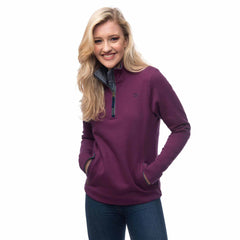 Lighthouse Womens Skye Half Zip Cotton Sweatshirt in Purple. Hands in pockets