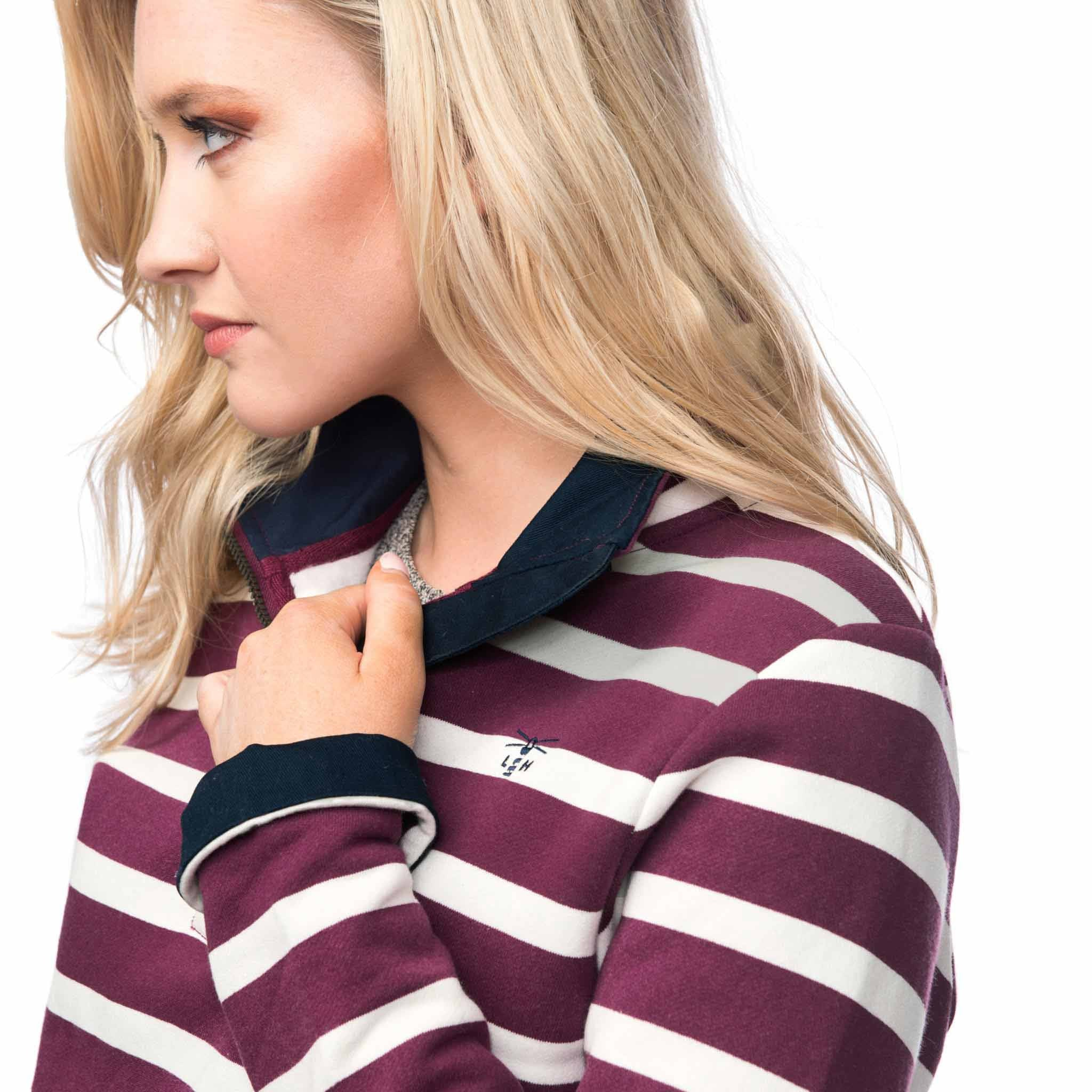 Lighthouse Womens Skye Half Zip Cotton Sweatshirt in Purple stripe. Detail shot.