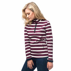 Lighthouse Womens Skye Half Zip Cotton Sweatshirt in Purple stripe. Hands in pockets.