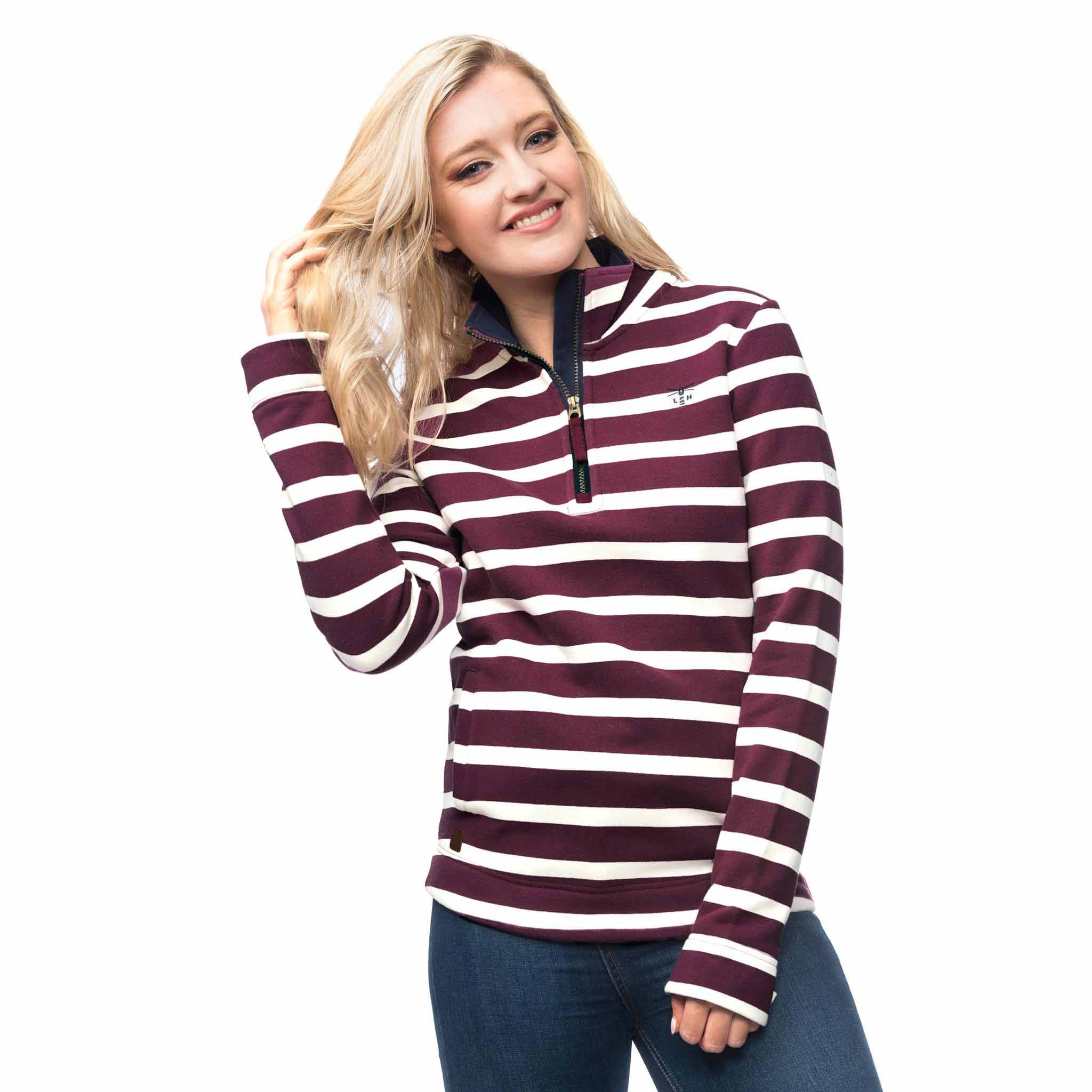 Lighthouse Womens Skye Half Zip Cotton Sweatshirt in Purple stripe.