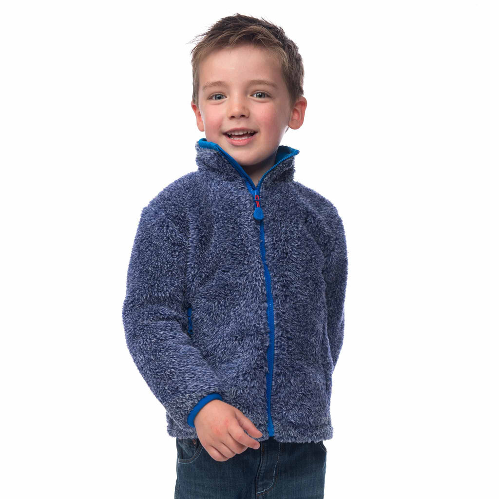 Lighthouse Boys' Sonny Full Zip Sherpa Fleece in Navy Grey Marl. Fully Zipped.
