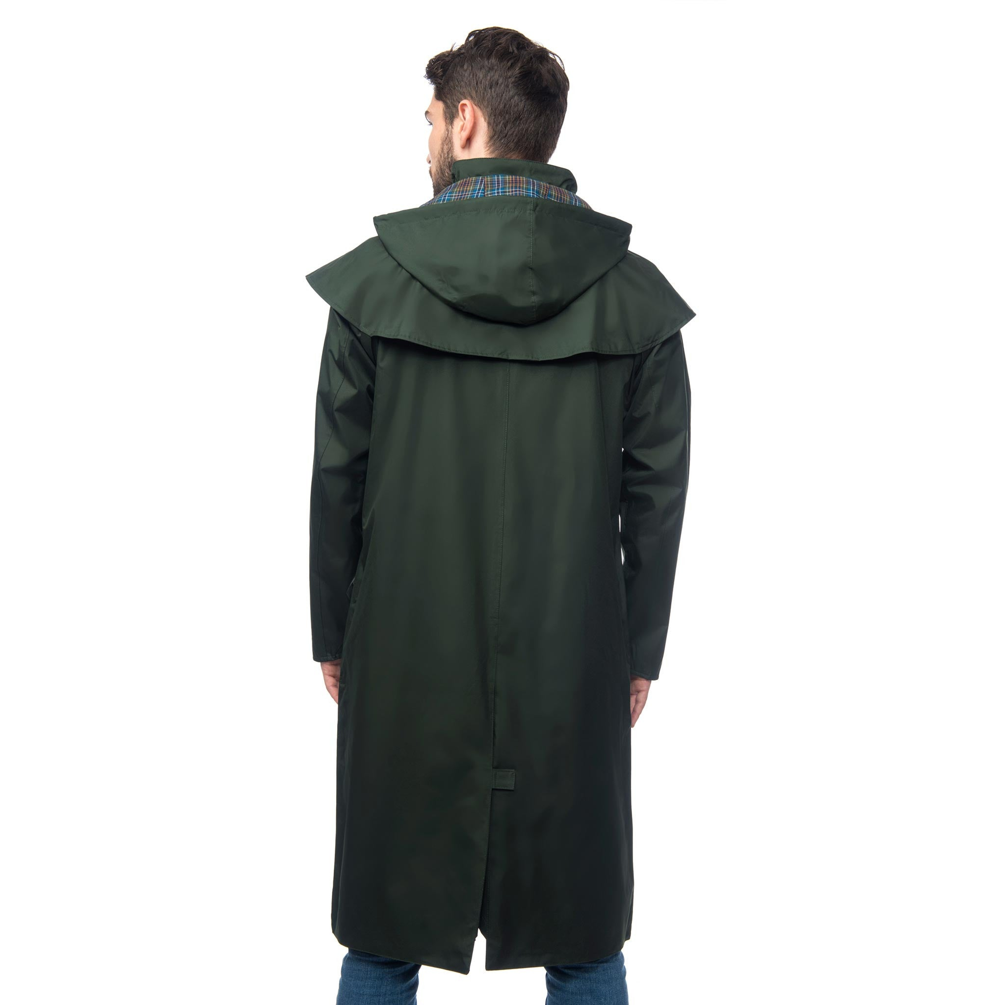 Lighthouse Mens Stockman Full Length Waterproof Rain Coat in green.  Zipped and buttoned. Hood down. Rear view showing back vent.