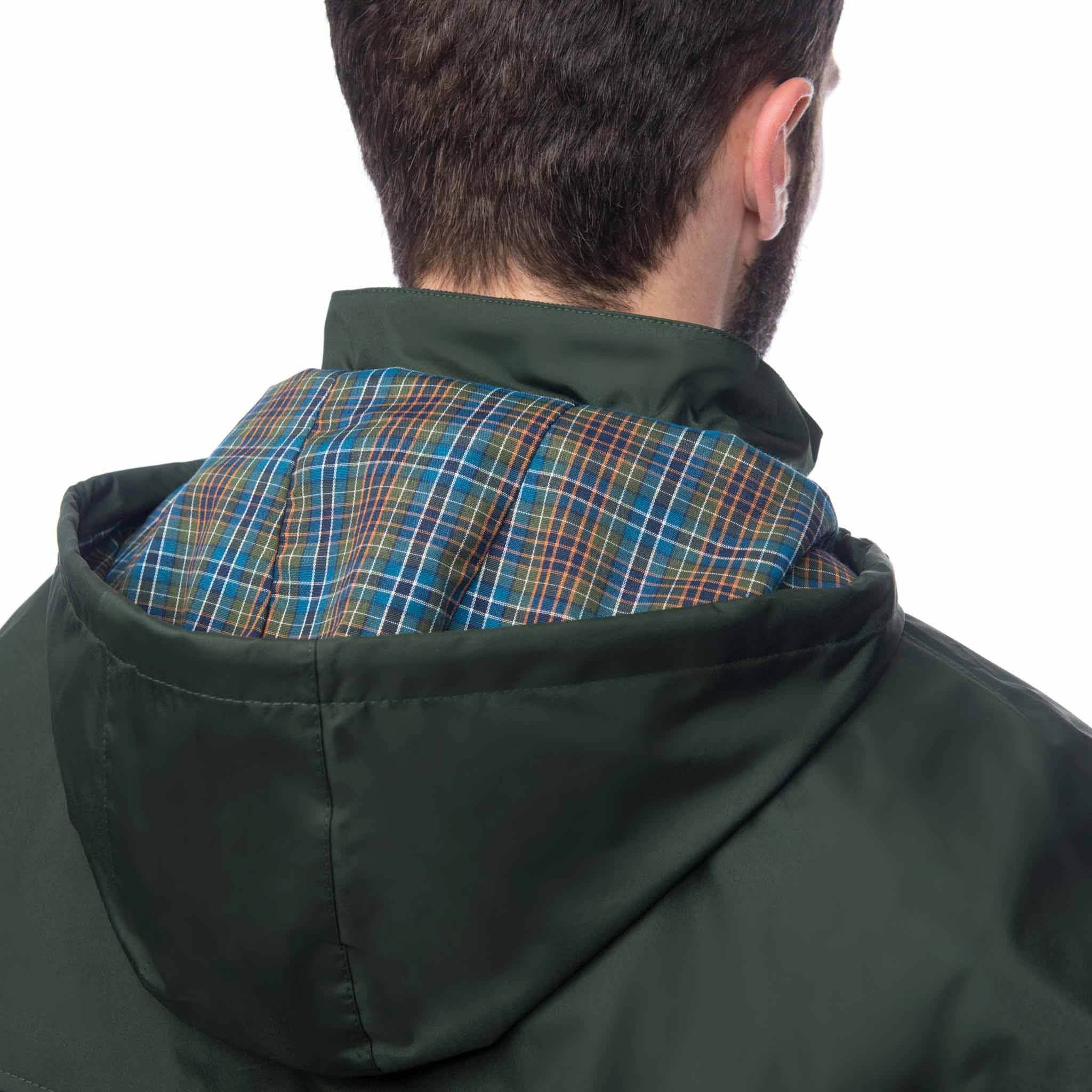 Lighthouse Mens Stockman Full Length Waterproof Rain Coat in green. Hood down rear view showing woven check lining.