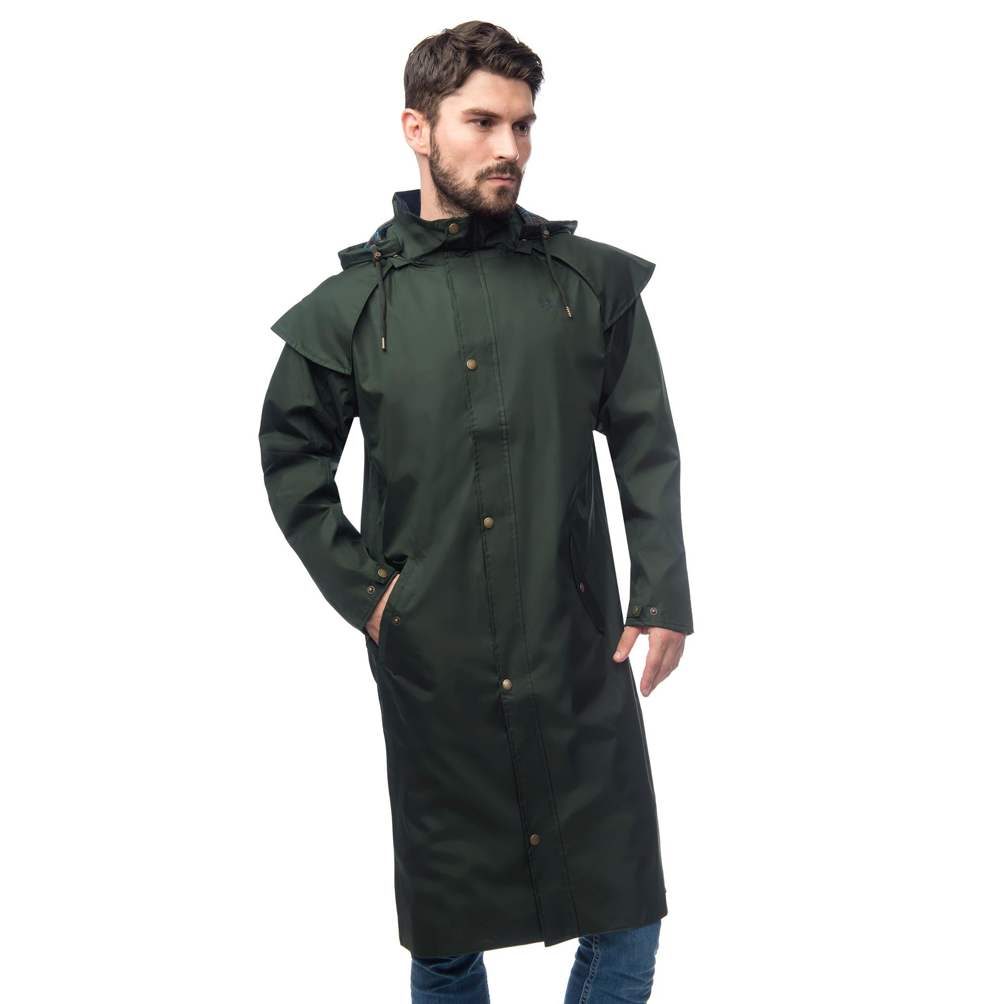 Lighthouse Mens Stockman Full Length Waterproof Rain Coat in green.  Zipped and buttoned. Hood down. Hands in pockets.