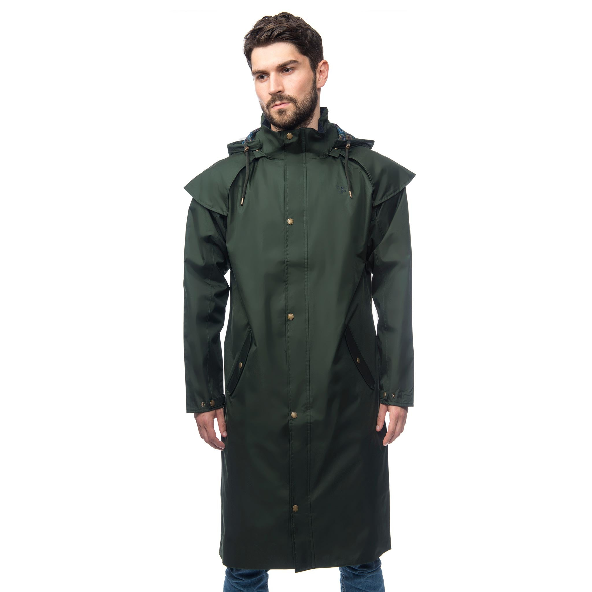Lighthouse Mens Stockman Full Length Waterproof Rain Coat in green.  Zipped and buttoned. Hood down.