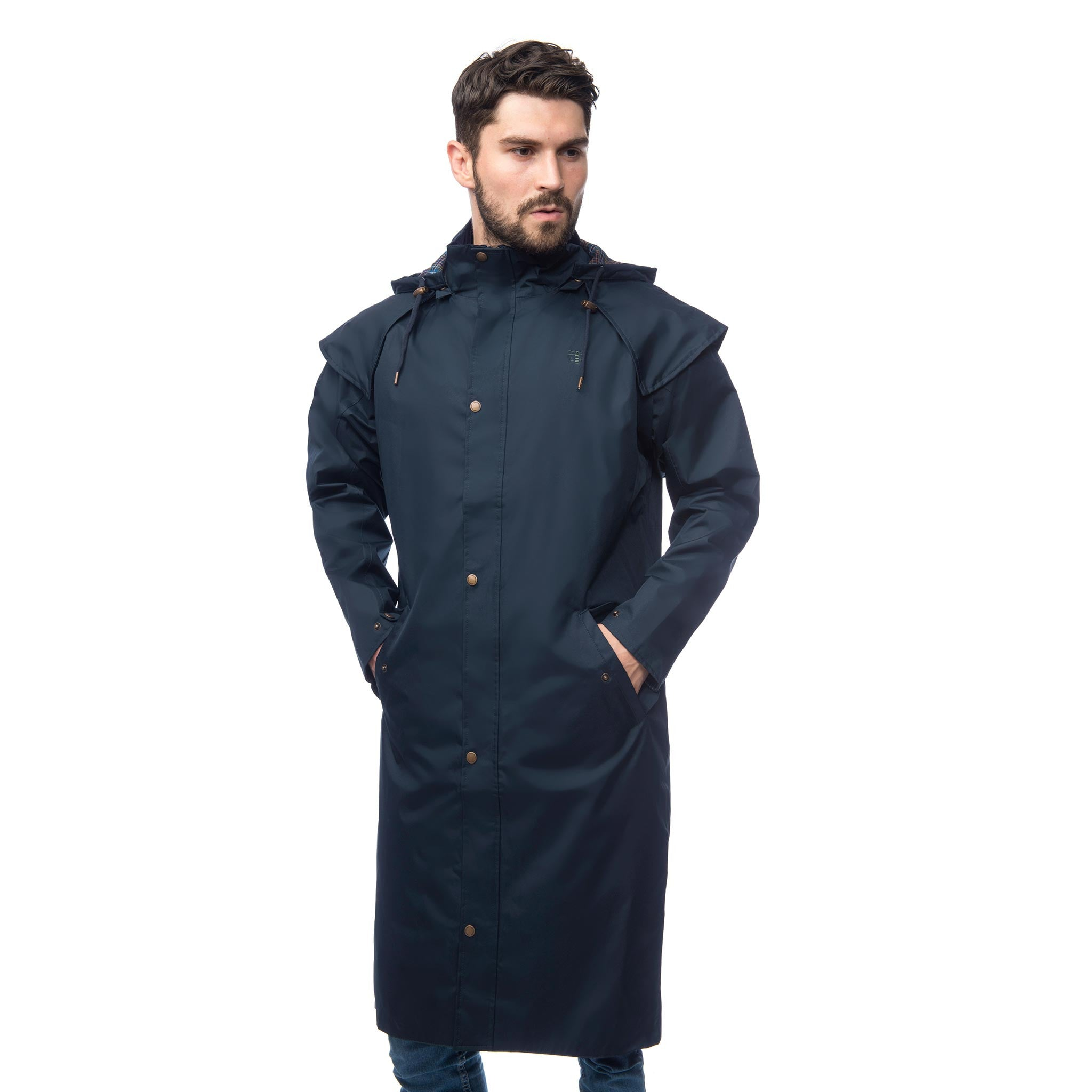 Lighthouse Mens Stockman Full Length Waterproof Rain Coat in Navy.  Zipped and buttoned. Hood down. Hands in pockets.