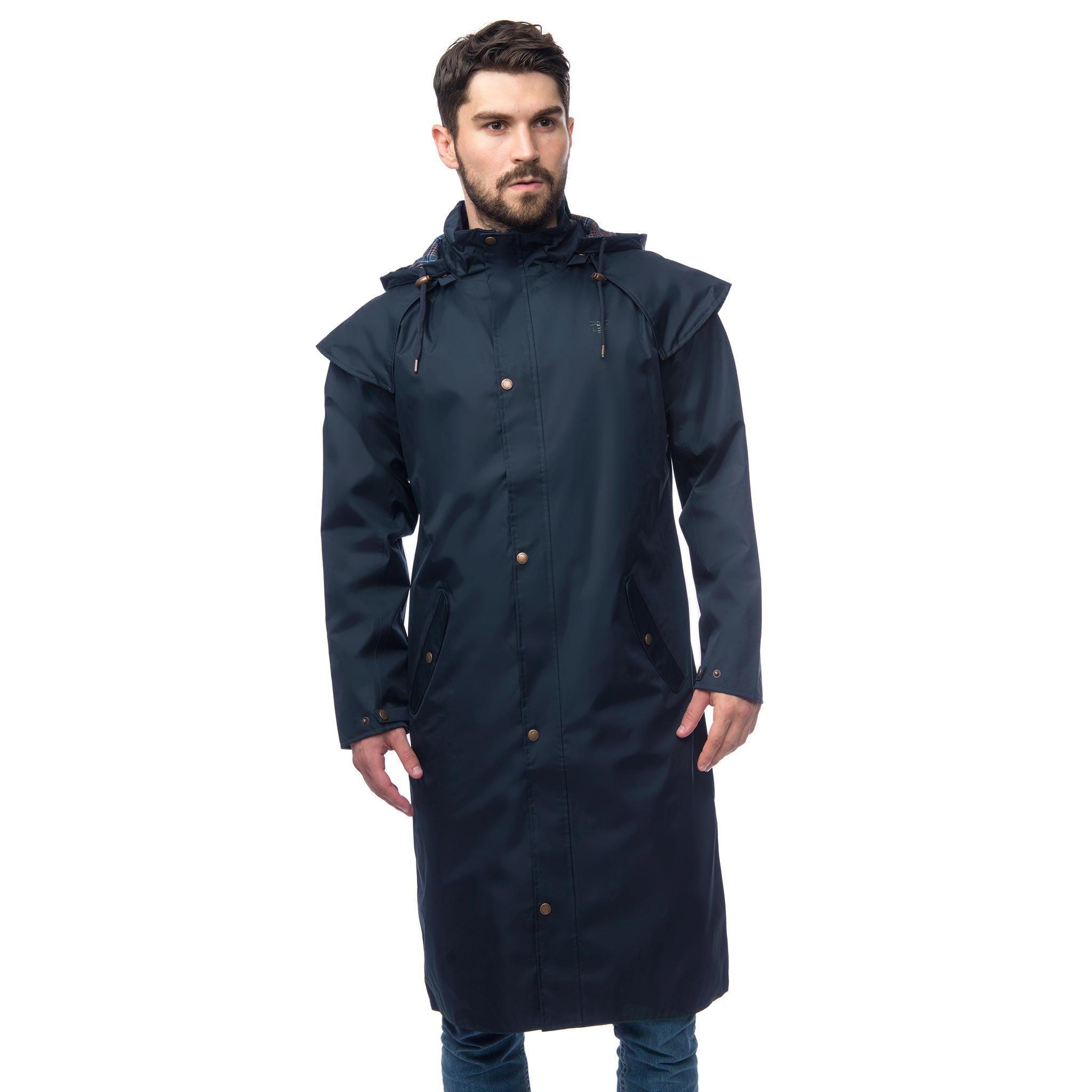 stockman full length waterproof coat mens raincoats lighthouse #1: lighthouse stockman full length waterproof overcoat navy front v