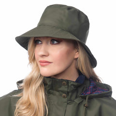 Lighthouse Womens Storm Rain Hat in Green. Wide Brim.