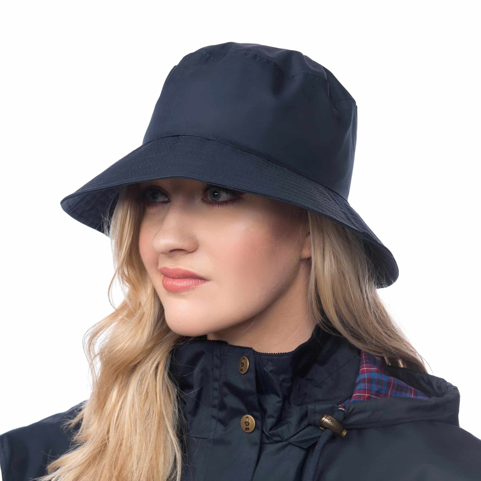 Lighthouse Womens Storm Rain Hat in Navy. Wide Brim.