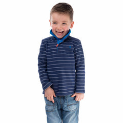 Cadet Boys Half Zip Sweatshirt in Indigo Stripe, Modelled Front View | Lighthouse