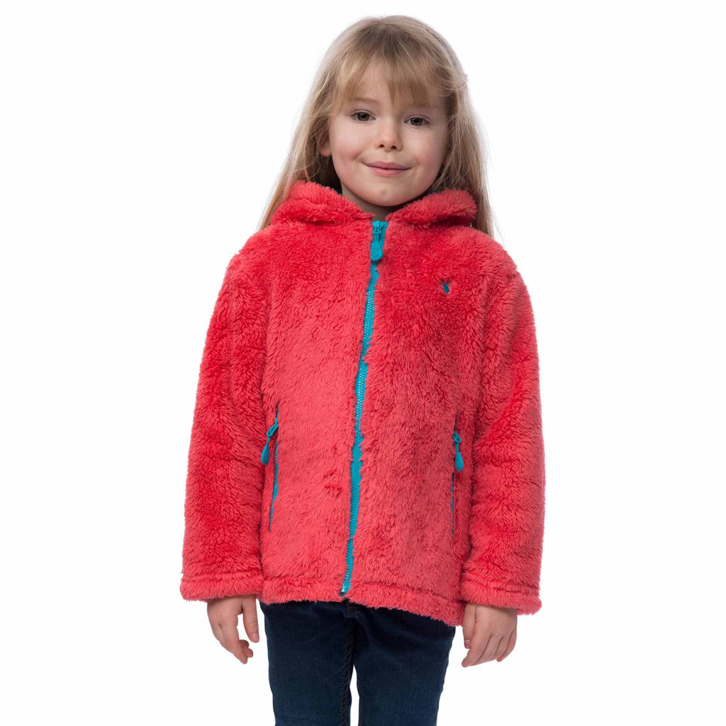Coral Girls Zip Through Hooded Fleece, in Rose Pink, Modelled Front View | Lighthouse