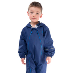 Puddlesuit Kids Waterproof Rainsuit, in Indigo Navy, Modelled Front View | Lighthouse