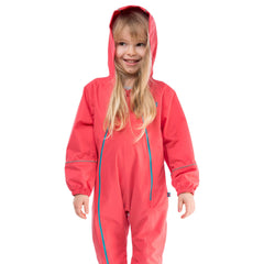 Puddlesuit Kids Waterproof Rainsuit, in Rose Pink, Modelled Front View | Lighthouse