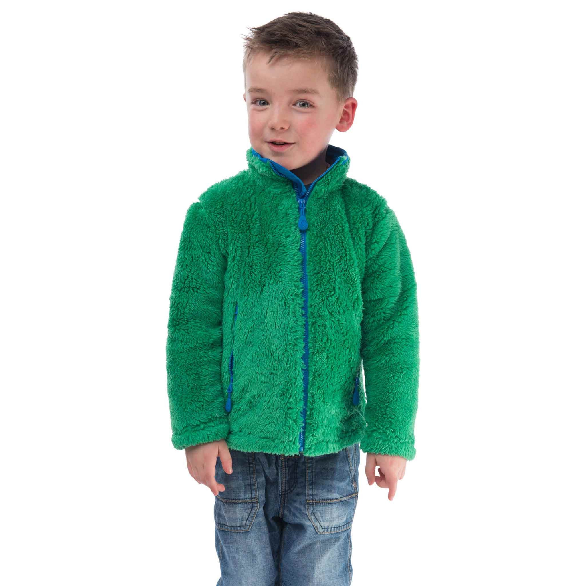 Radar Boys Zip Through Sweatshirt in Pea Green, Modelled Front View | Lighthouse