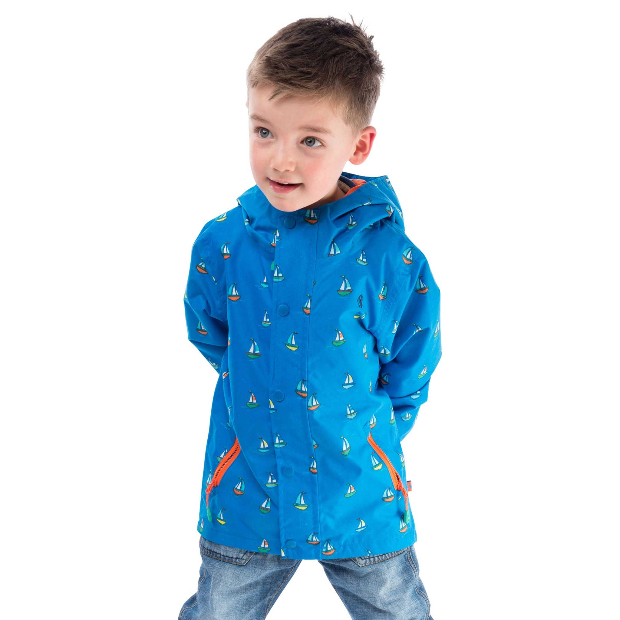 Skipper Boys Waterproof Jacket in Bright Blue Boat, Modelled Front View | Lighthouse