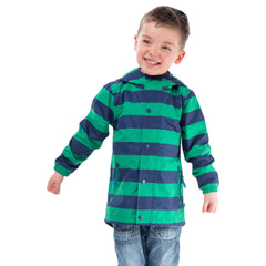 Skipper Boys Waterproof Jacket in Pea Green Stripe, Modelled Front View | Lighthouse