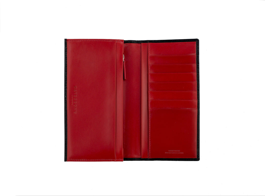 arun black and red bridle leather slim wallet open
