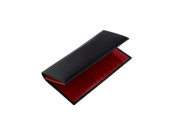 arun black and red bridle leather slim wallet three quarters