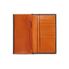 arun brown and orange bridle leather slim wallet open