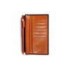 arun brown and orange bridle leather slim wallet pocket