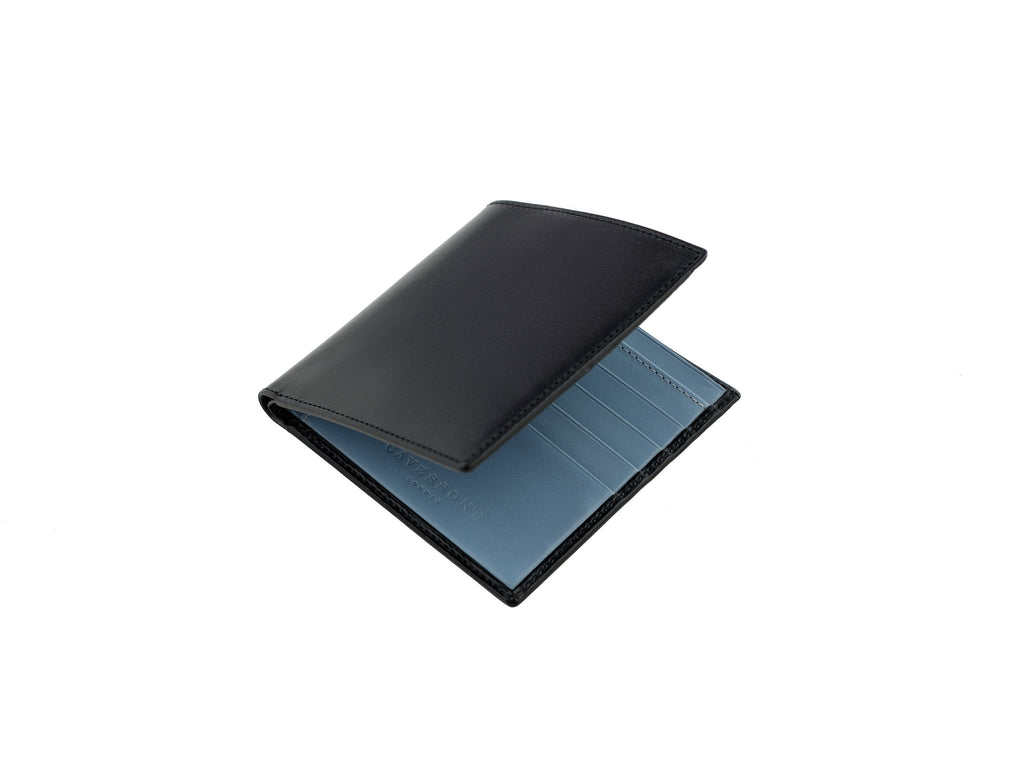 cadnam black and aqua bridle leather wallet