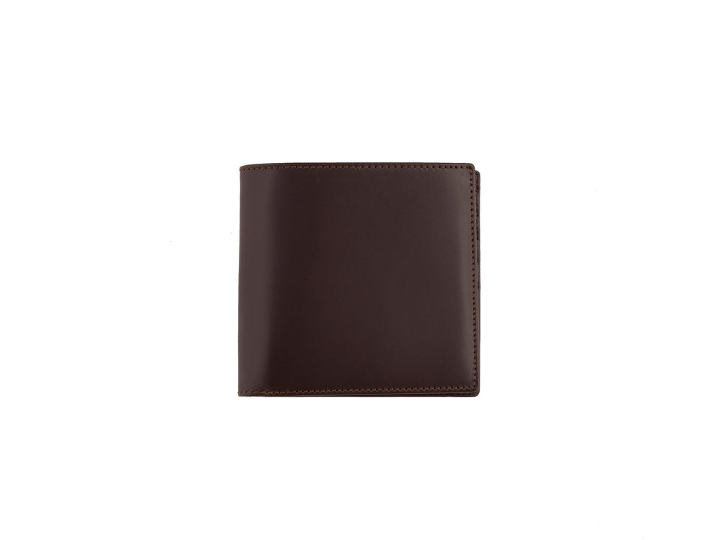 cadnam brown and orange bridle leather wallet closed