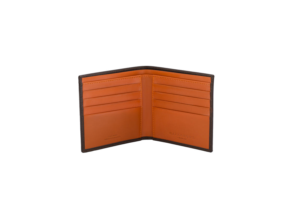 cadnam brown and orange bridle leather wallet open