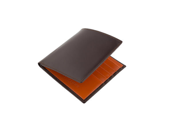 cadnam brown and orange bridle leather wallet