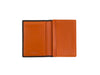 candover brown and orange bridle leather card case open