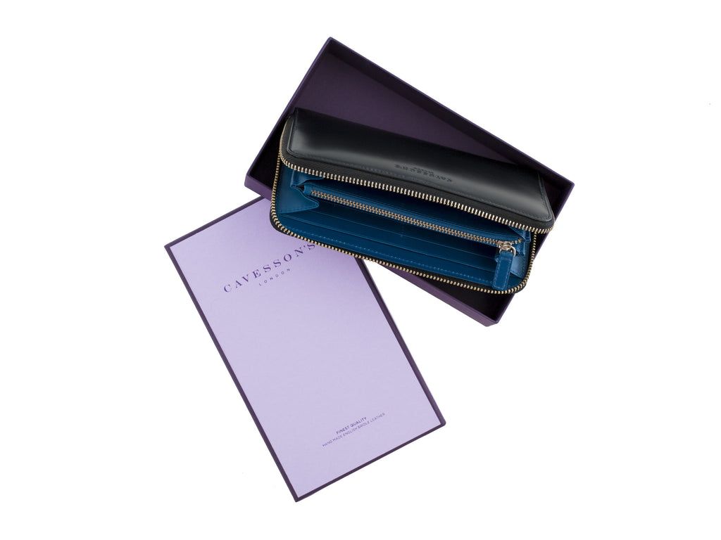larigan black and peacock bridle leather zip wallet with box