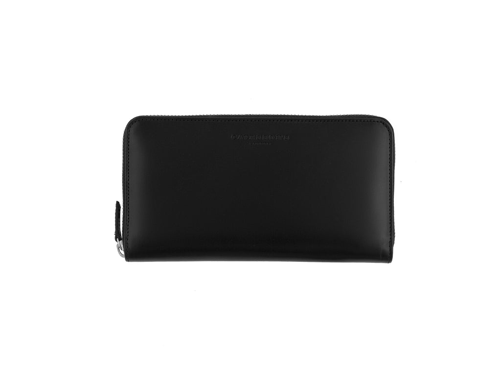 larigan black and peacock bridle leather zip wallet closed