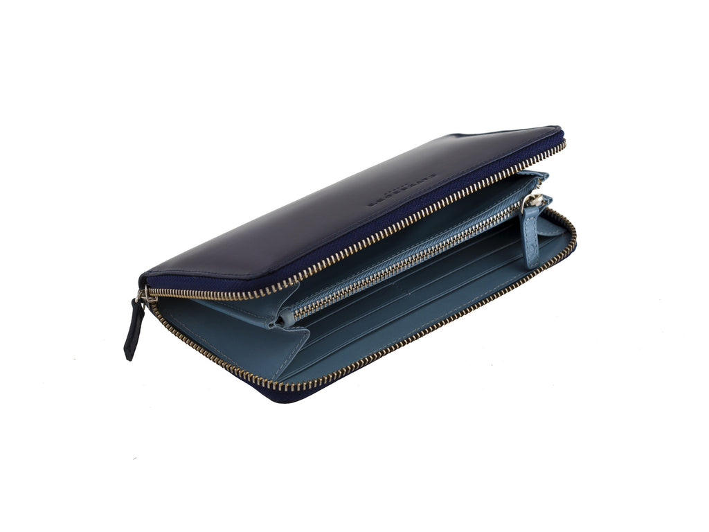 larigan blue and aqua bridle leather zip wallet