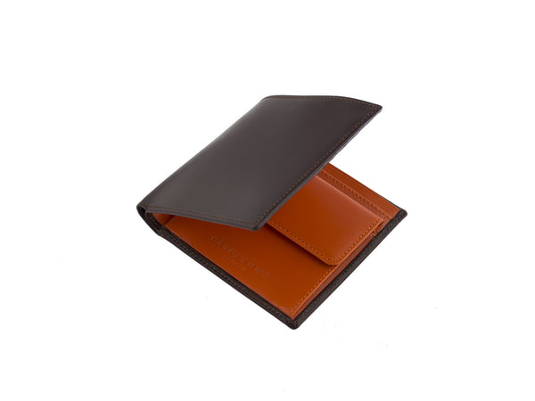 marshcourt brown and orange bridle leather coin purse wallet